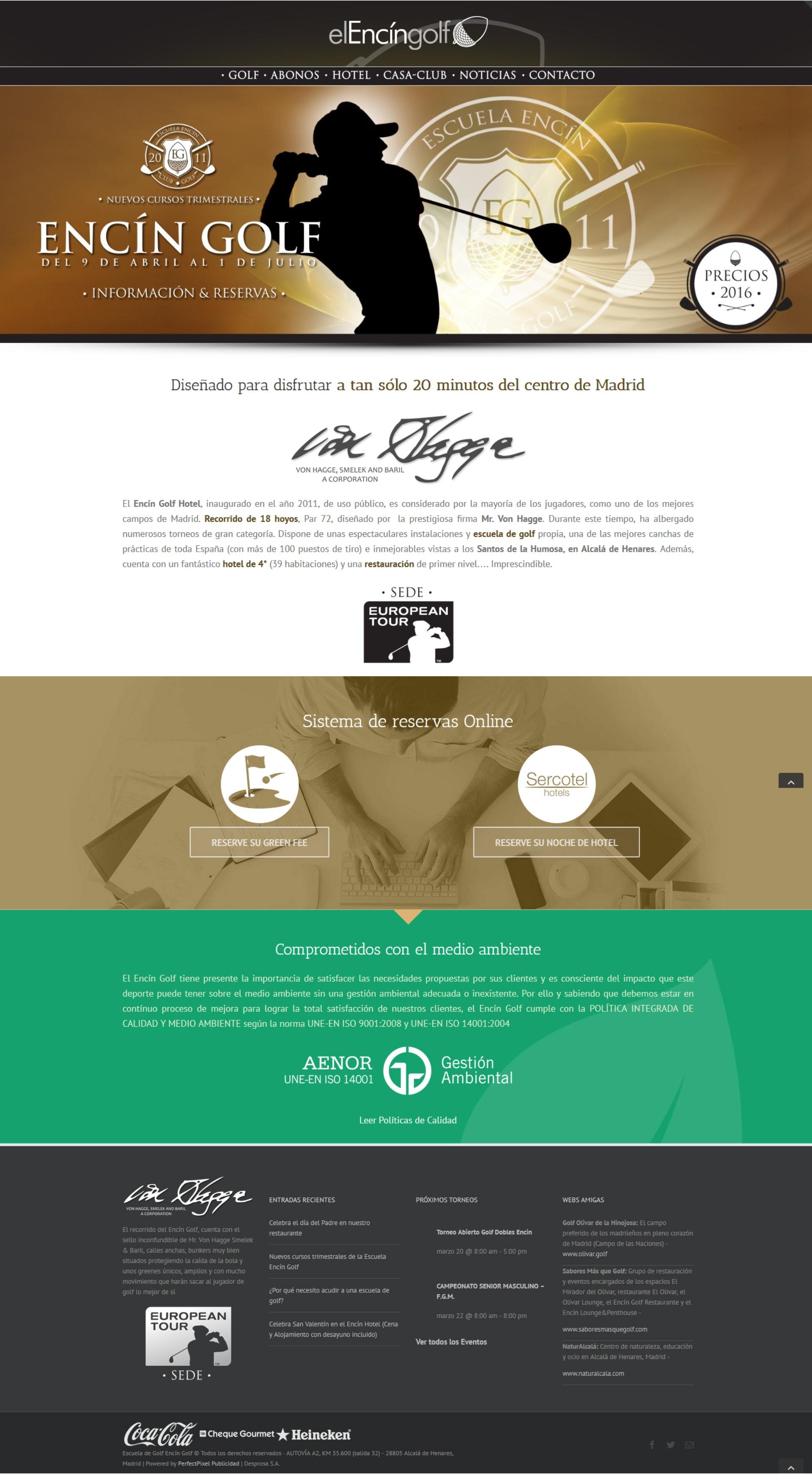 Diseño web Encin Golf Hotel